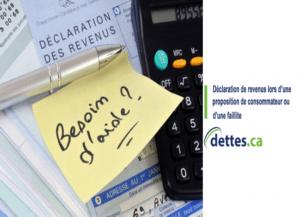 Déclaration de revenus lors d'une proposition de consommateur ou d'une faillite par dettes.ca