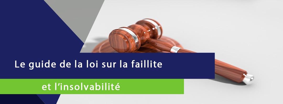 bannière sur laquelle est écrite le guide de la loi sur la faillite et l'insolvabilité